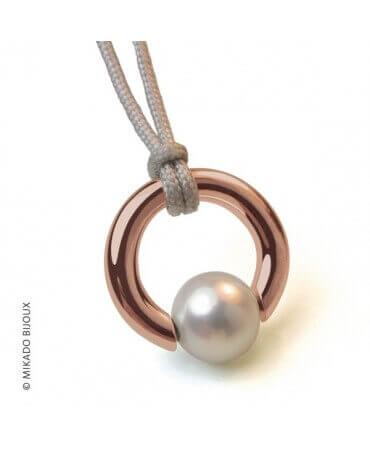 Mikado : pendentif Moana perle Akoya (or rose)