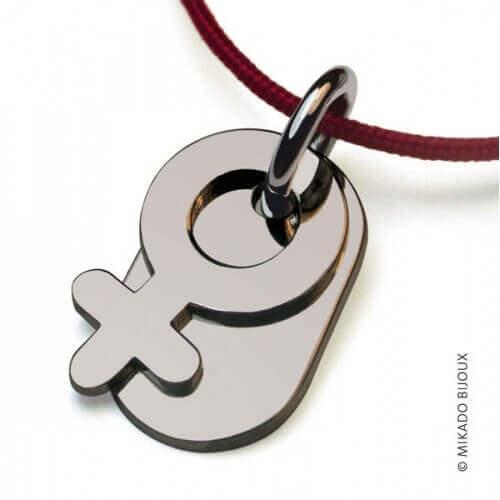 Mikado : pendentif Sex Symbol Fille (or blanc)