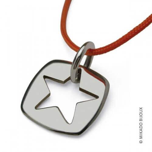 """Mikado : pendentif """"Che"""" étoile (or blanc)"""