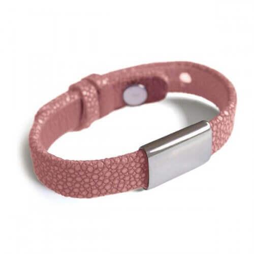 Mikado : bracelet galuchat Hip Hop rose
