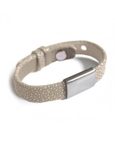 Mikado : bracelet galuchat Hip Hop blanc