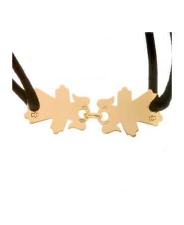 Loupidou : bracelet cordon 2 personnages (or jaune)