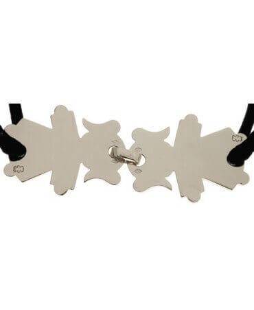 Loupidou : bracelet cordon 2 personnages (argent)