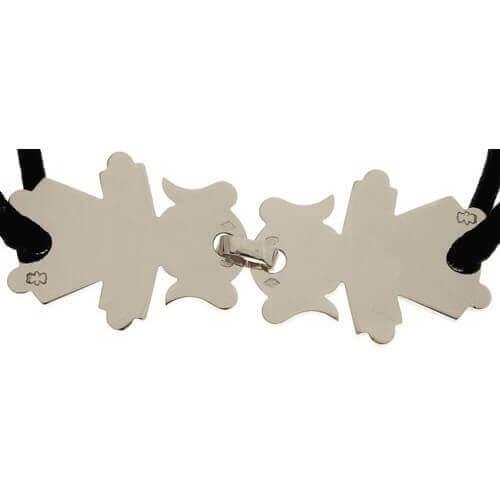 Loupidou : bracelet cordon 2 personnages (or blanc)
