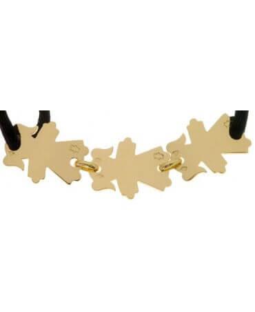 Loupidou : bracelet cordon Maman 3 enfants (or jaune)