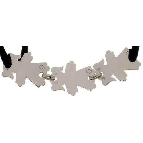 Loupidou : bracelet cordon Maman avec 3 enfants (or blanc)