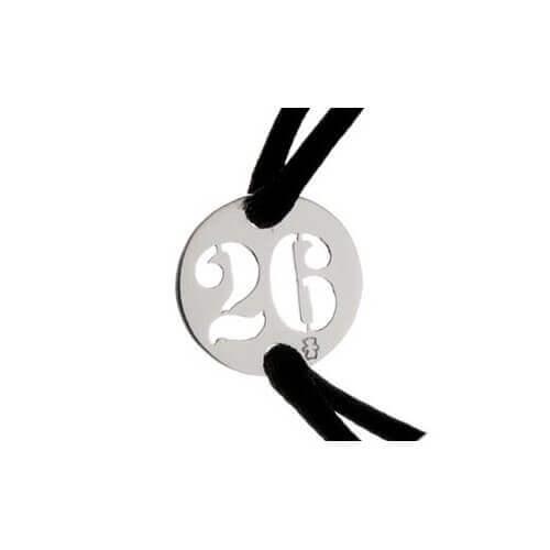 Loupidou : bracelet cordon lucky number (or blanc)