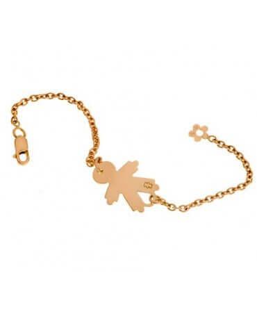 Loupidou : bracelet identité bébé fille ou garçon 15 mm (or jaune)