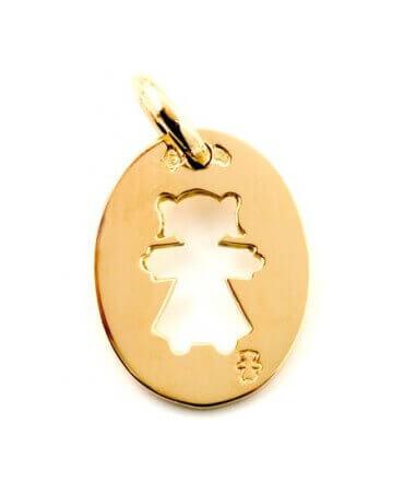 Loupidou : médaille ovale petite fille (or jaune)