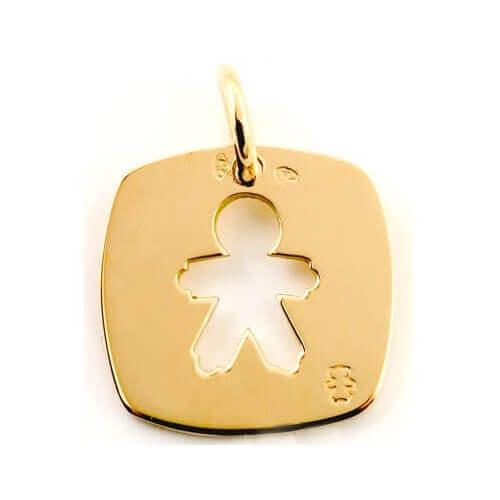 Loupidou : médaille carrée petit garçon (or jaune)