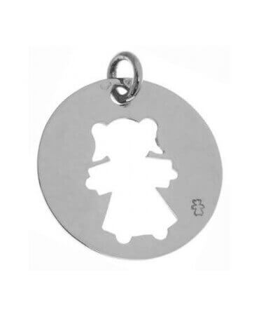 Loupidou : médaille ajourée - fille ou garçon (or blanc)
