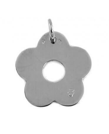 Loupidou : pendentif fleur (or blanc)