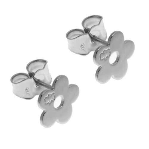 Loupidou : boucles d'oreilles fleur (or blanc)