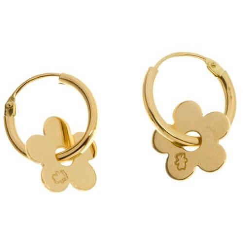 Loupidou : boucles d'oreilles mini créoles fleur (or jaune)