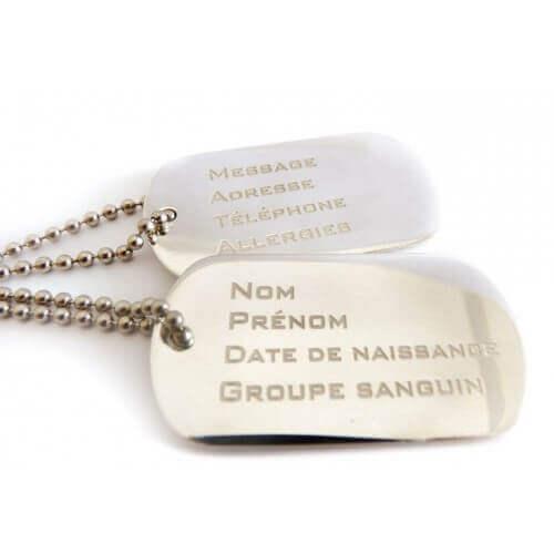 Rosset Gaulejac : collier plaque militaire à graver