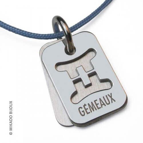 Mikado : pendentif ASTRO signe Gémeaux (argent)