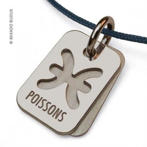 Mikado : pendentif ASTRO signe Poissons (argent)