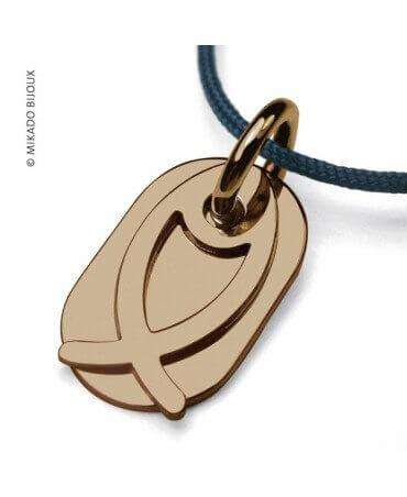 Mikado : pendentif Ichthys Poisson (or jaune)