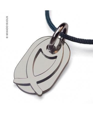 Mikado : pendentif Ichthys Poisson (or blanc)