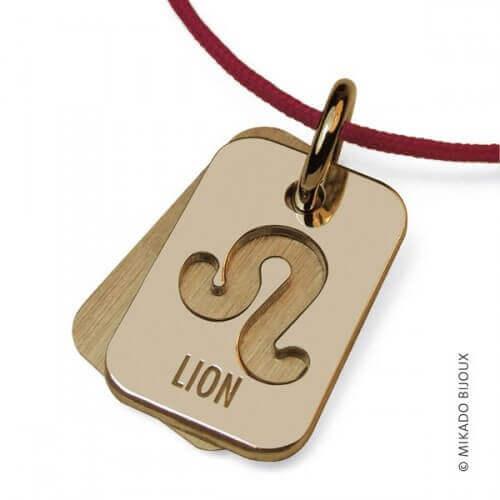 Mikado : pendentif ASTRO signe Lion (or jaune)