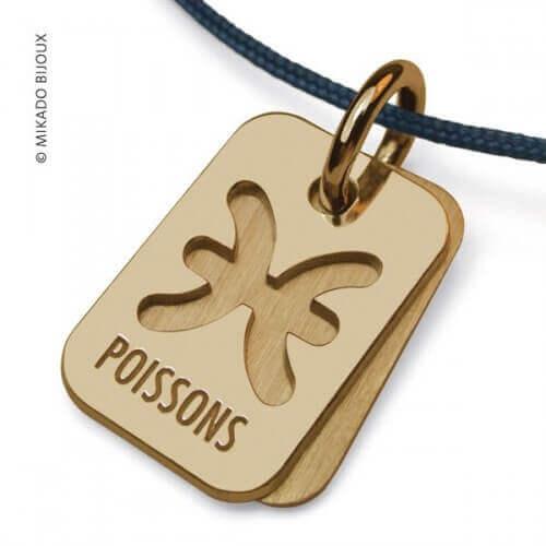 Mikado : pendentif ASTRO signe Poissons (or jaune)