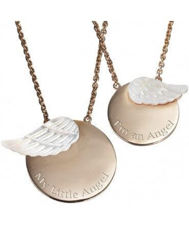 Petits Trésors : pendentif duo maman enfant ange (plaqué or)