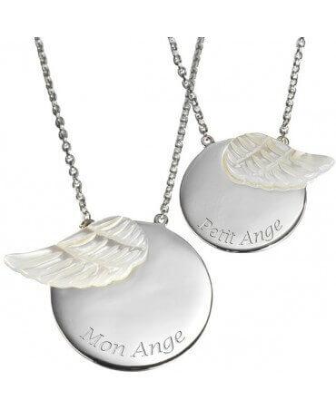 Petits Trésors : pendentif duo maman enfant ange (argent)
