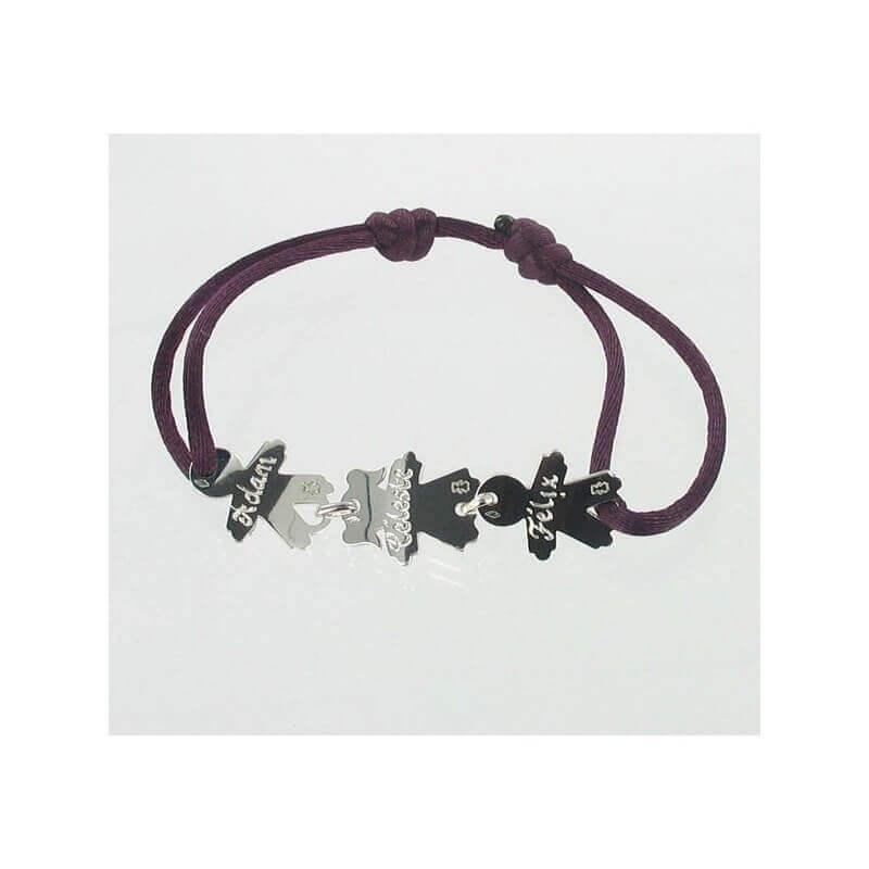 bracelet cordon 3 enfants argent loupidou bracelet maman bijoux de cr ateurs. Black Bedroom Furniture Sets. Home Design Ideas