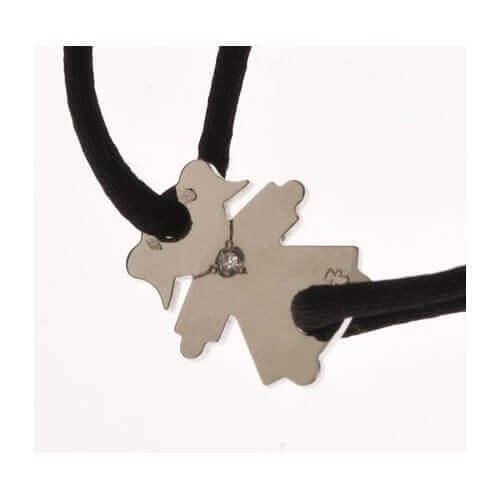 Loupidou : bracelet cordon personnage (or blanc) 1 diamant