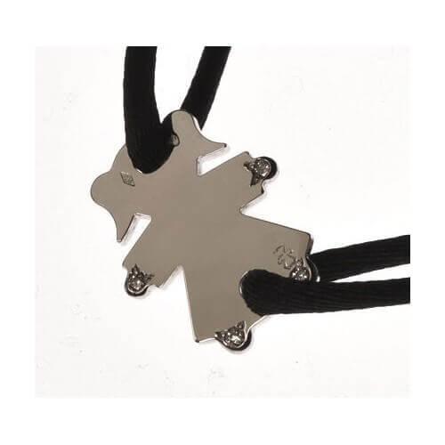 Loupidou : bracelet cordon personnage (or blanc) 4 diamants