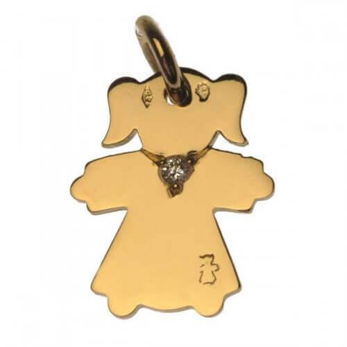 Loupidou : médaille personnage or jaune collier diamant