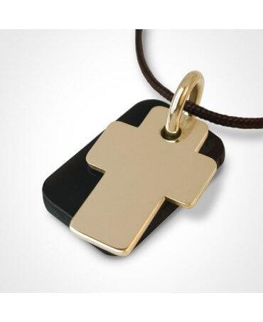 Mikado : pendentif Gospel croix or jaune et corne
