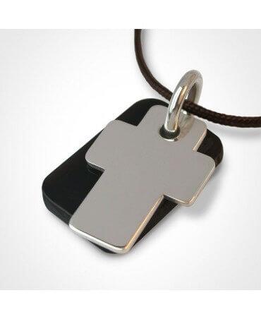 Mikado : pendentif Gospel croix or blanc et corne