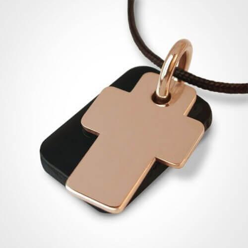 Mikado : pendentif Gospel croix or rose et corne