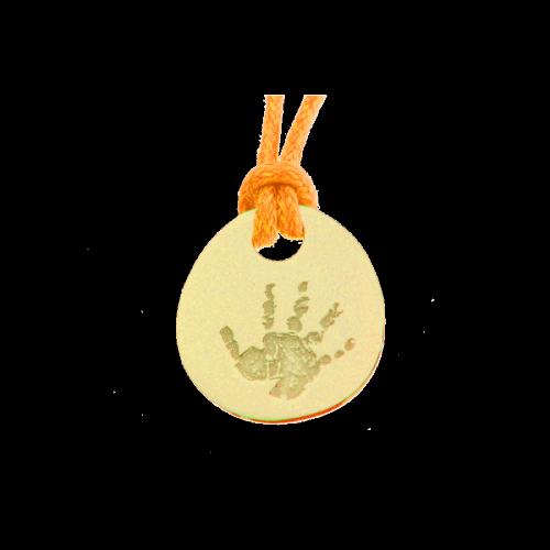 Les Empreintes : pendentif galet zen or jaune sur cordon