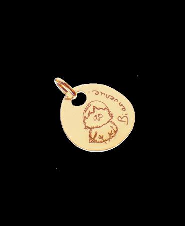 Les Empreintes : pendentif galet zen or jaune avec bélière