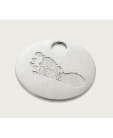 Les Empreintes : pendentif pastille argent sur cordon