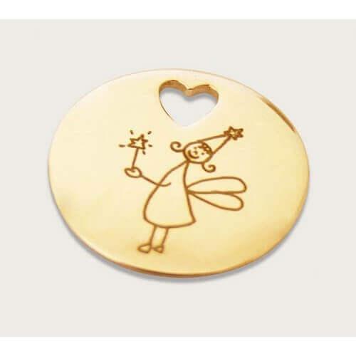 Les Empreintes : pendentif pastille or jaune trou cœur sur cordon