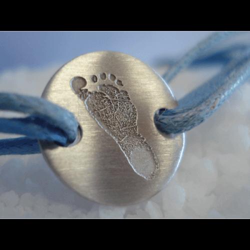Les Empreintes : bracelet cordon pastille or blanc
