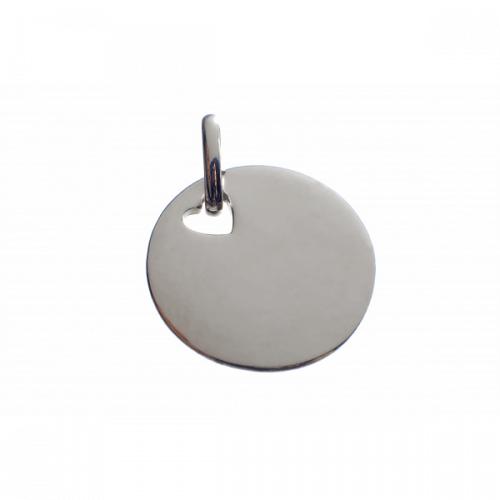 Les Empreintes : pendentif pastille or blanc (trou cœur) avec bélière