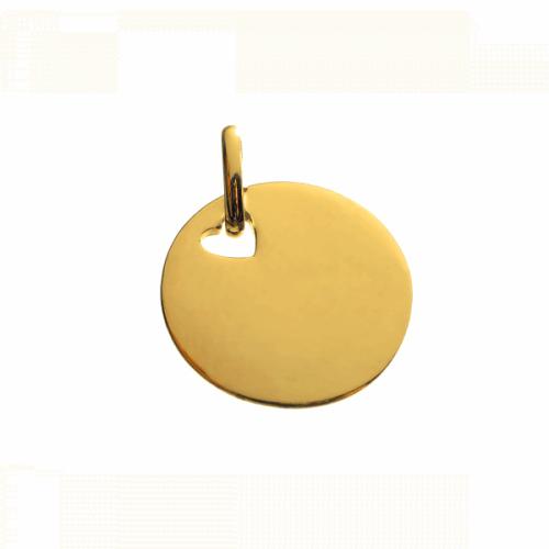 Les Empreintes : pendentif pastille or jaune (trou cœur) avec bélière
