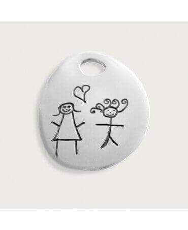 Les Empreintes : pendentif mini galet argent sur cordon