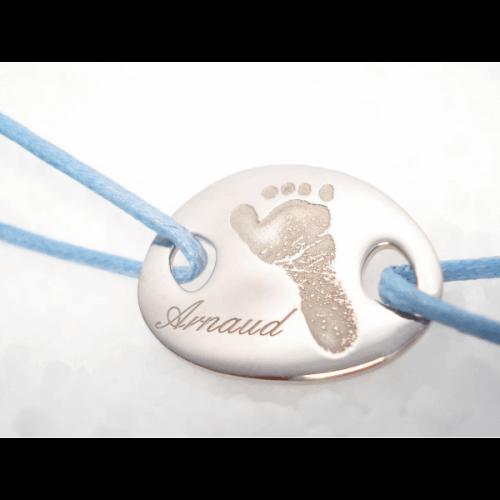 Les Empreintes : bracelet cordon mini galet argent