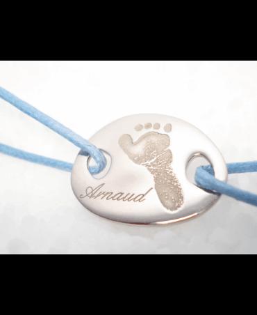 Les Empreintes : bracelet cordon mini galet or blanc