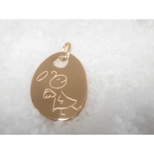Les Empreintes : pendentif mini galet or jaune avec bélière