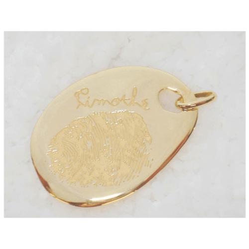 Les Empreintes : pendentif gros galet rond or jaune avec bélière