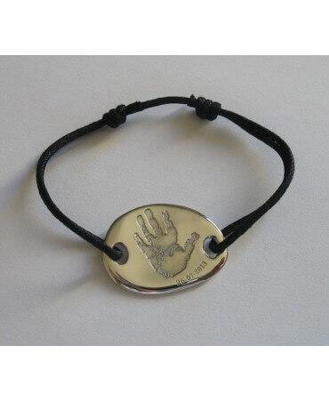 Les Empreintes : bracelet cordon gros galet rond argent