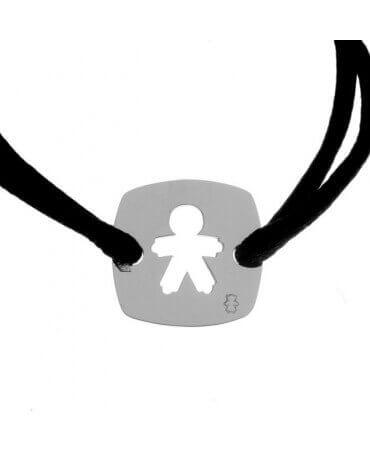 Loupidou : bracelet cordon médaille carrée garçon (argent)