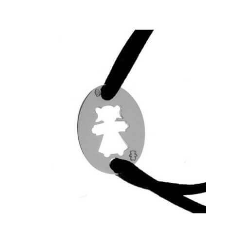 Loupidou : bracelet cordon médaille ovale fille (argent)