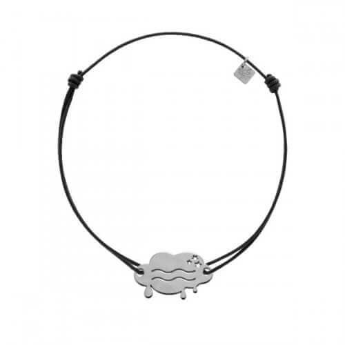 My Little Zodiac : Bracelet cordon signe Verseau (argent)